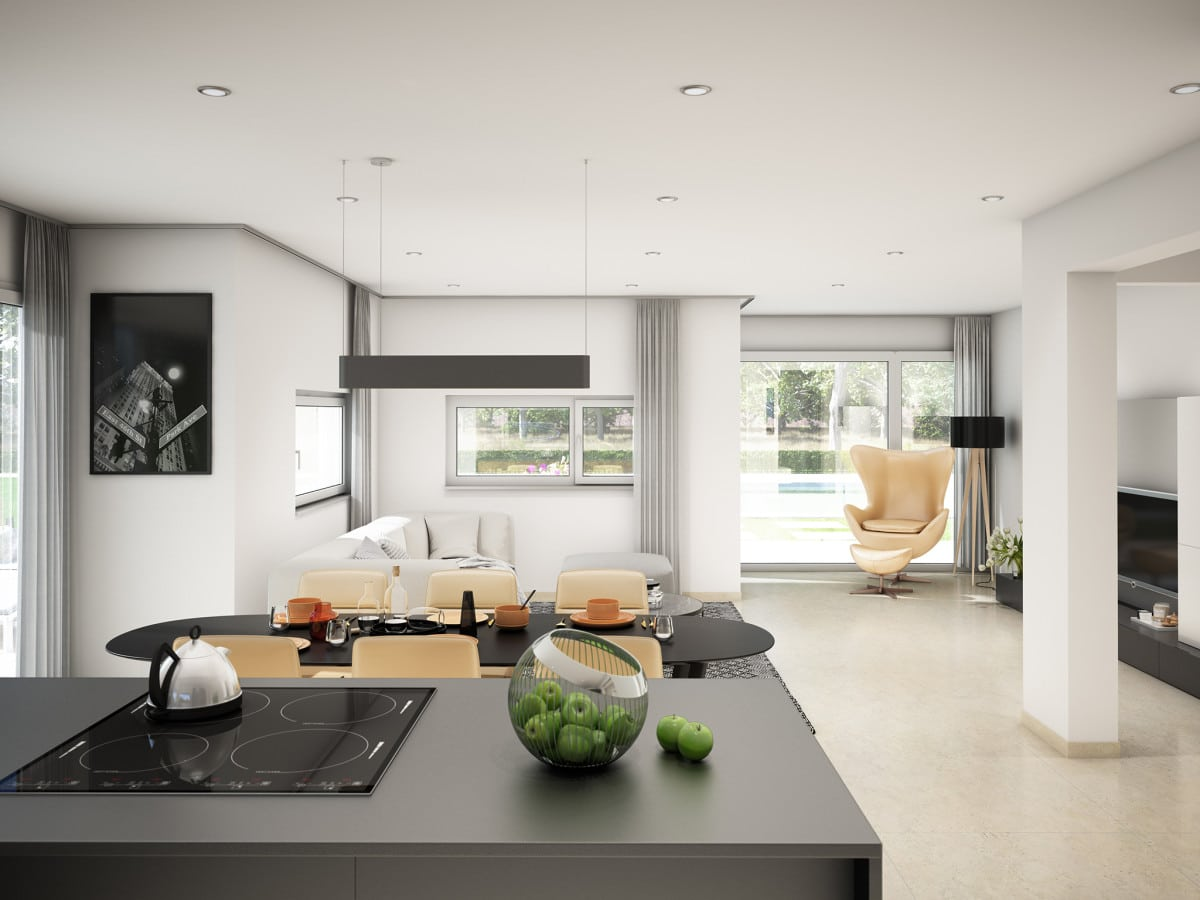 Moderne Wohnküche Inneneinrichtung grau weiß - Haus Design innen Ideen Bien Zenker Fertighaus CONCEPT-M 166 Erfurt - HausbauDirekt.de