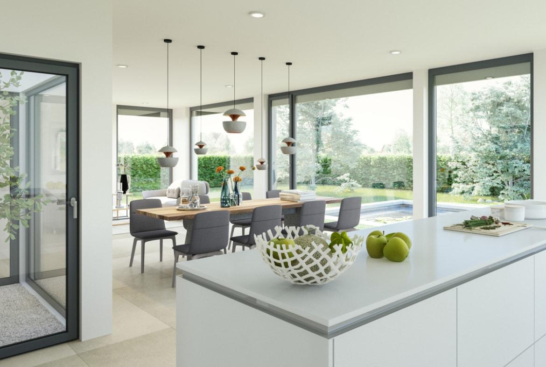 Offenes Esszimmer mit Küche & Atrium - Haus Design Ideen innen Bien Zenker Fertighaus CONCEPT-M 210 Günzburg - HausbauDirekt.de