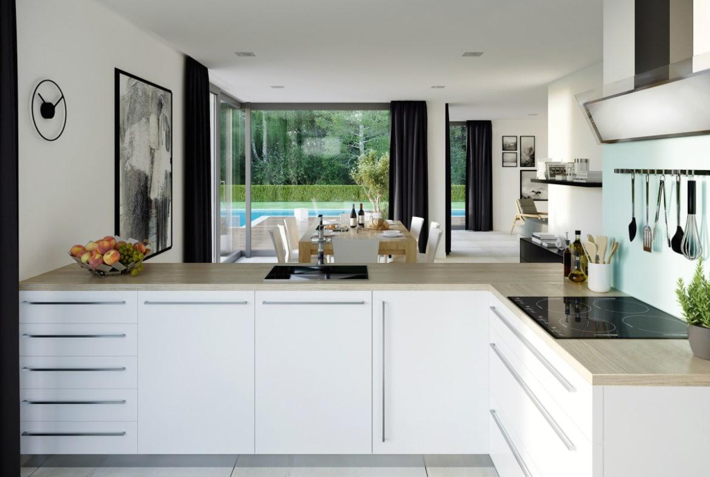 Offene Küche modern mit Esszimmer - Ideen Haus Design innen Fertighaus Bien Zenker CONCEPT-M 211 Mannheim - HausbauDirekt.de