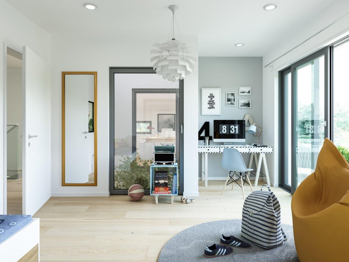 Kinderzimmer modern mit Blick in das Atrium - Haus Design Ideen innen Bien Zenker Fertighaus CONCEPT-M 210 Günzburg - HausbauDirekt.de