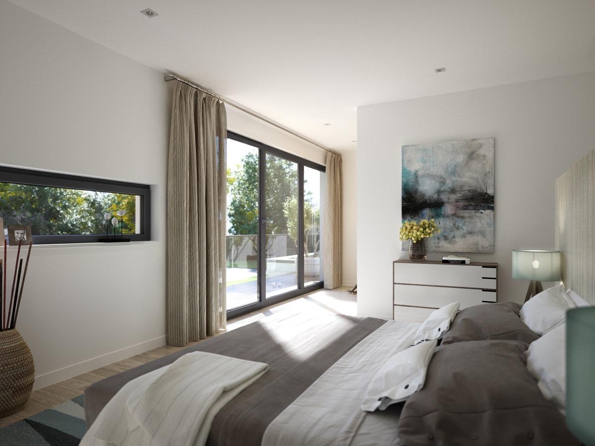 Modernes Schlafzimmer mit Balkon - Ideen Haus Design innen Fertighaus Bien Zenker CONCEPT-M 211 Mannheim - HausbauDirekt.de