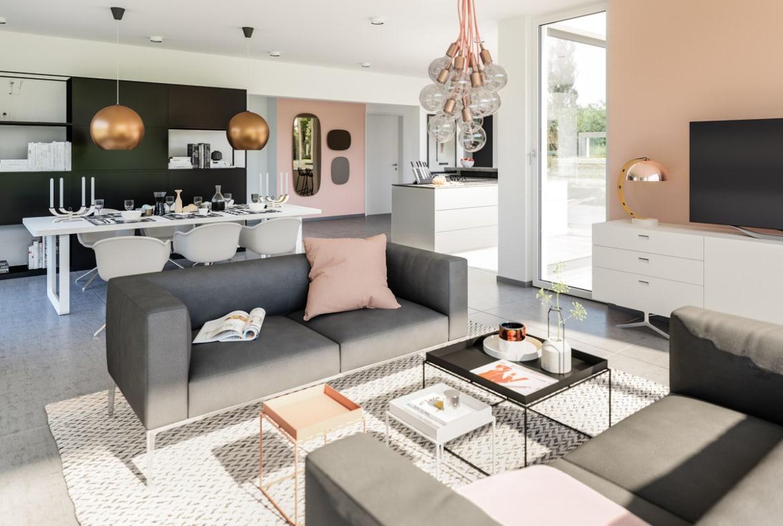 Offenes Wohn-Esszimmer Design Inneneinrichtung grau rosa weiß - Bien Zenker Fertighaus CONCEPT-M 154 Hannover - HausbauDirekt.de