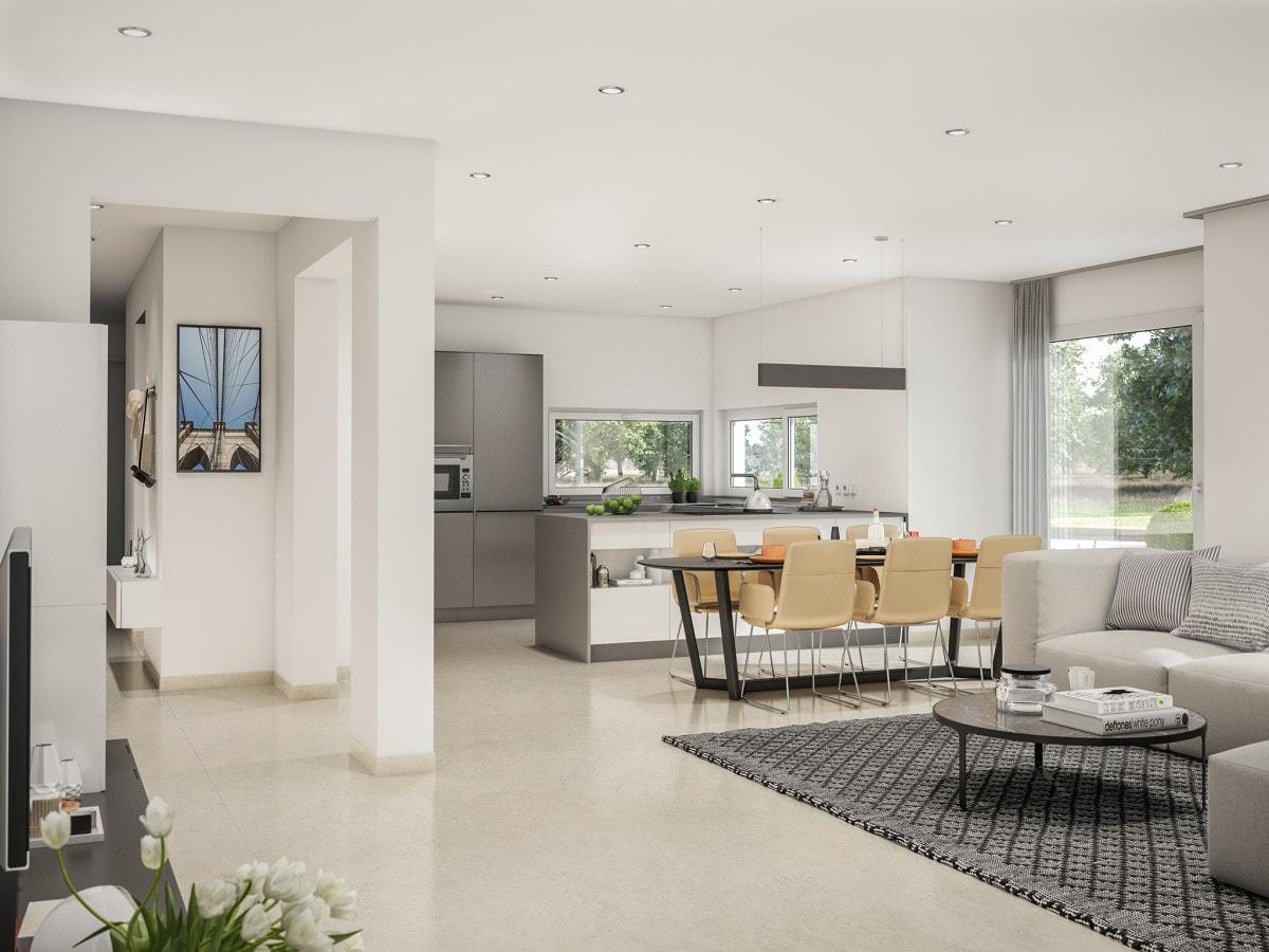 Modernes Wohn-Esszimmer mit offener Küche - Haus Design innen Ideen Bien Zenker Fertighaus CONCEPT-M 166 Erfurt - HausbauDirekt.de