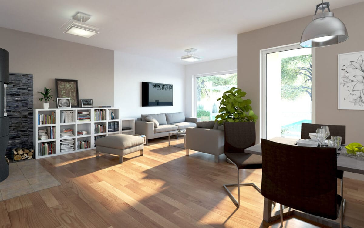 Offenes Wohn-Esszimmer mit Erker - Inneneinrichtung Haus Design Ideen innen Fertighaus Bungalow SH 113 B Variante A von ScanHaus Marlow - HausbauDirekt.de