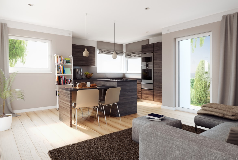Wohn-Esszimmer modern mit offener Küche - Ideen Inneneinrichtung Einliegerwohnung Living Haus SOLUTION 183 V3 - HausbauDirekt.de