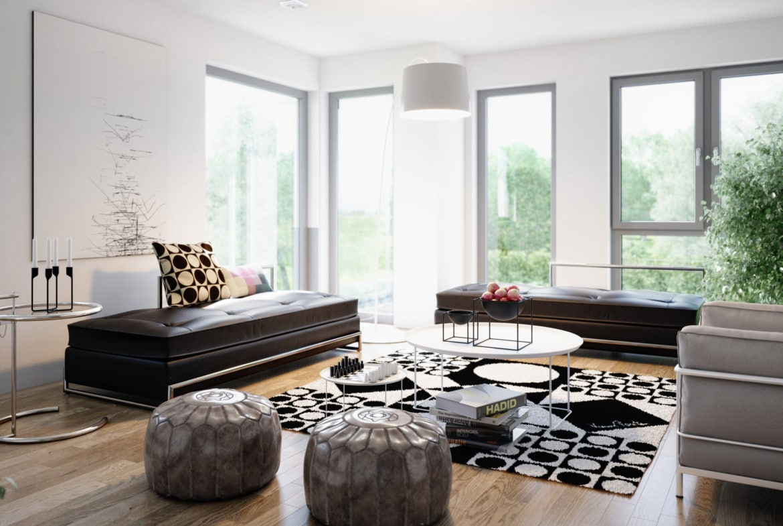 Wohnideen Wohnzimmer & Galerie - Inneneinrichtung Ideen Fertighaus Living Haus SUNSHINE 151 V4 - HausbauDirekt.de