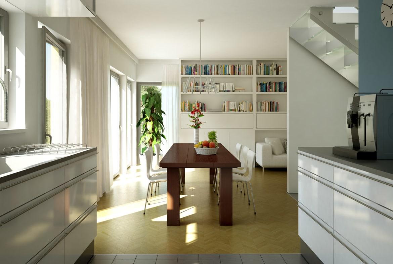 Offene Wohnküche mit Essbereich - Ideen Inneneinrichtung Einfamilienhaus Bien Zenker Fertighaus EVOLUTION 136 V5 - HausbauDirekt.de