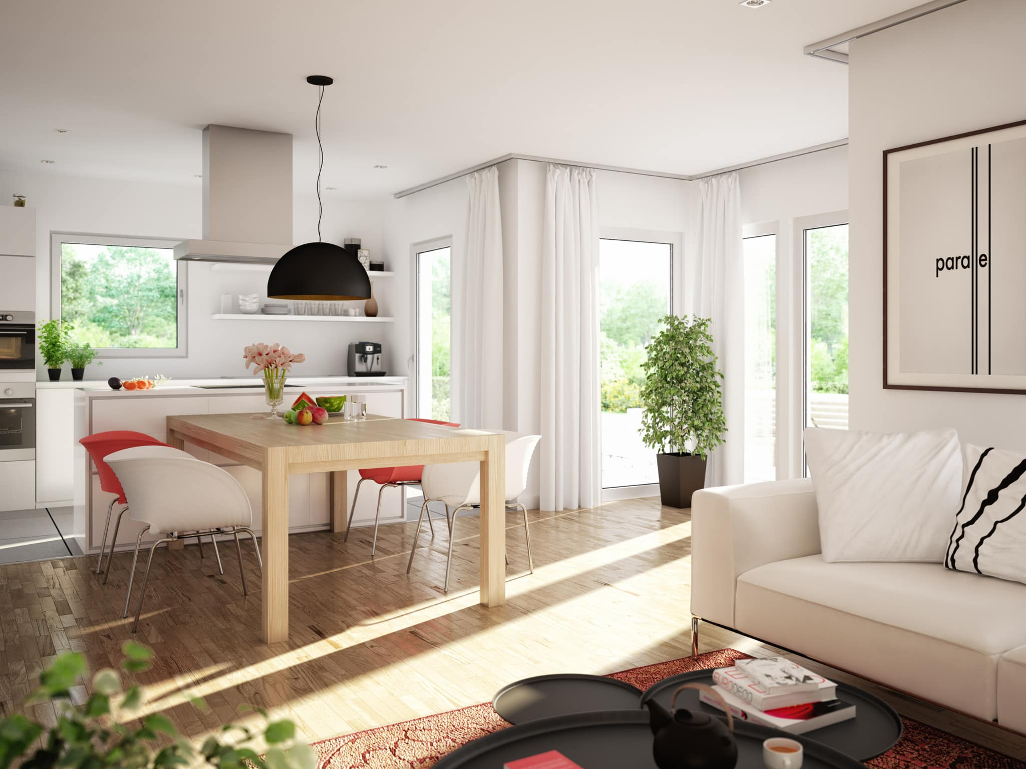 Wohnküche - Ideen Inneneinrichtung Einfamilienhaus Living Haus SUNSHINE 125 V5 - HausbauDirekt.de