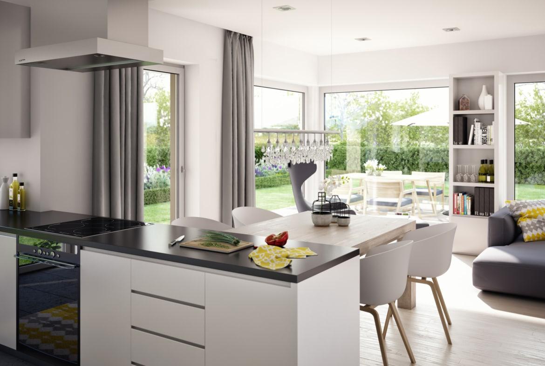 Wohnküche Ideen - Inneneinrichtung Fertighaus SOLUTION 204 V4 von Living Haus - HausbauDirekt.de