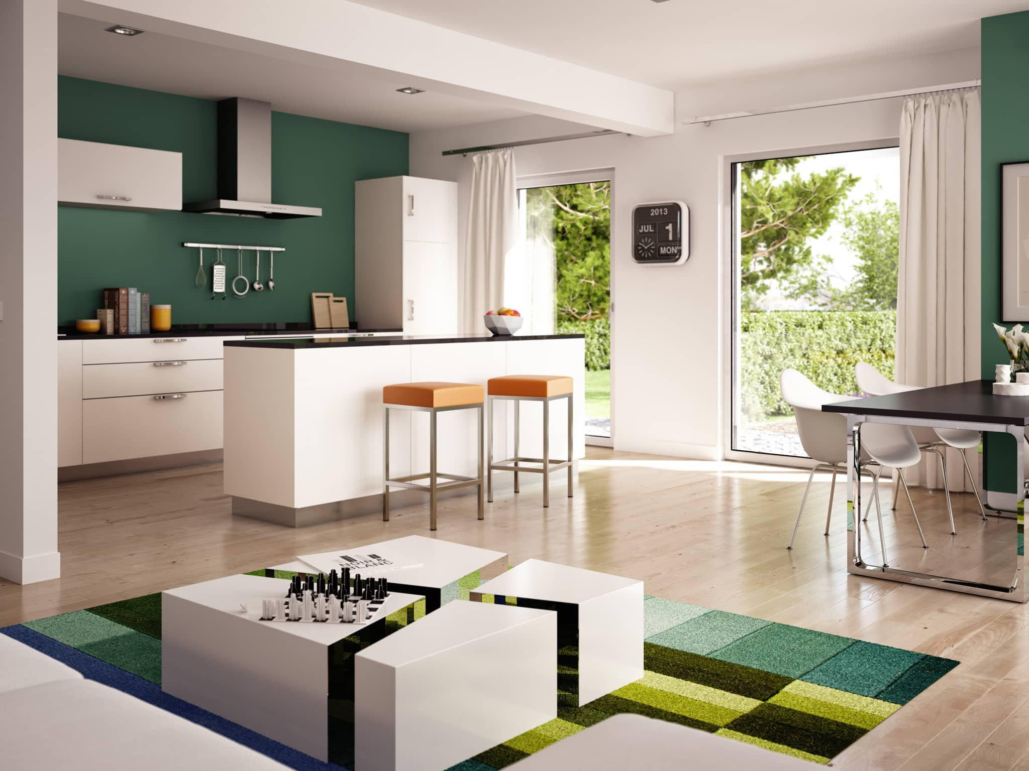 Wohnküche Ideen - Inneneinrichtung Fertighaus SOLUTION 204 V8 von Living Haus - HausbauDirekt.de