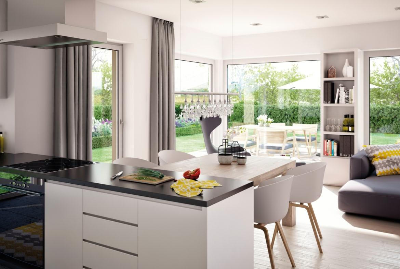 Moderne Wohnküche mit Essplatz - Ideen Inneneinrichtung Fertighaus SOLUTION 230 V3 von Living Haus - HausbauDirekt.de