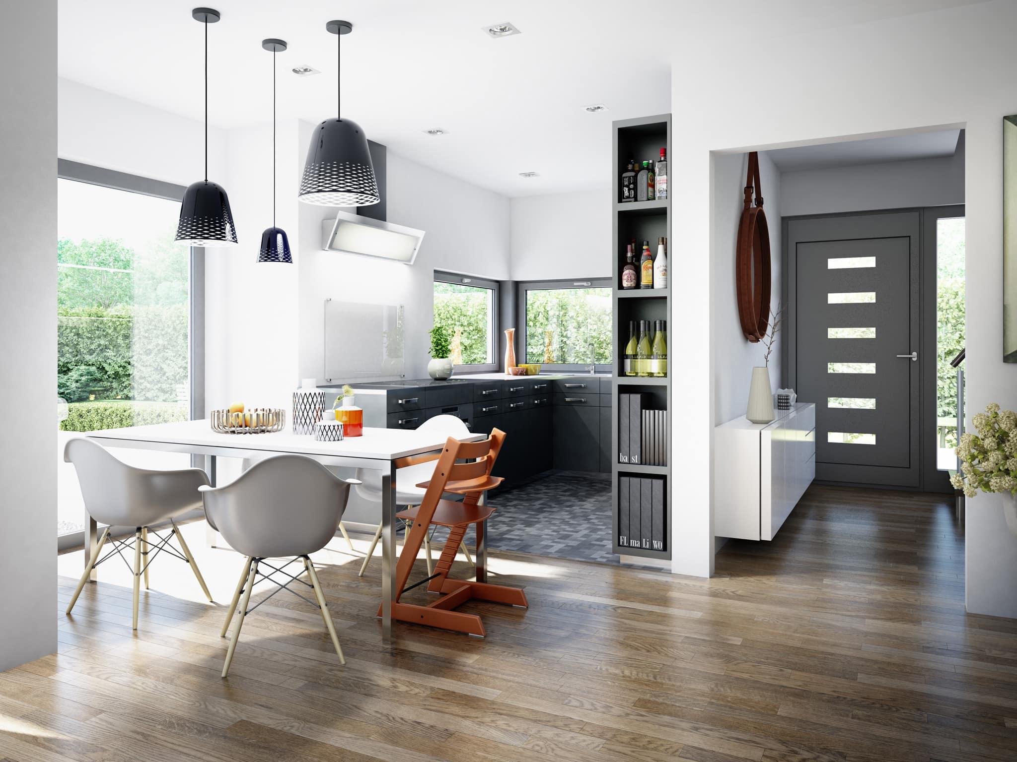 Offene Wohnküche modern mit Esstisch - Inneneinrichtung Fertighaus Stadtvilla Living Haus SUNSHINE 151 V8 - HausbauDirekt.de