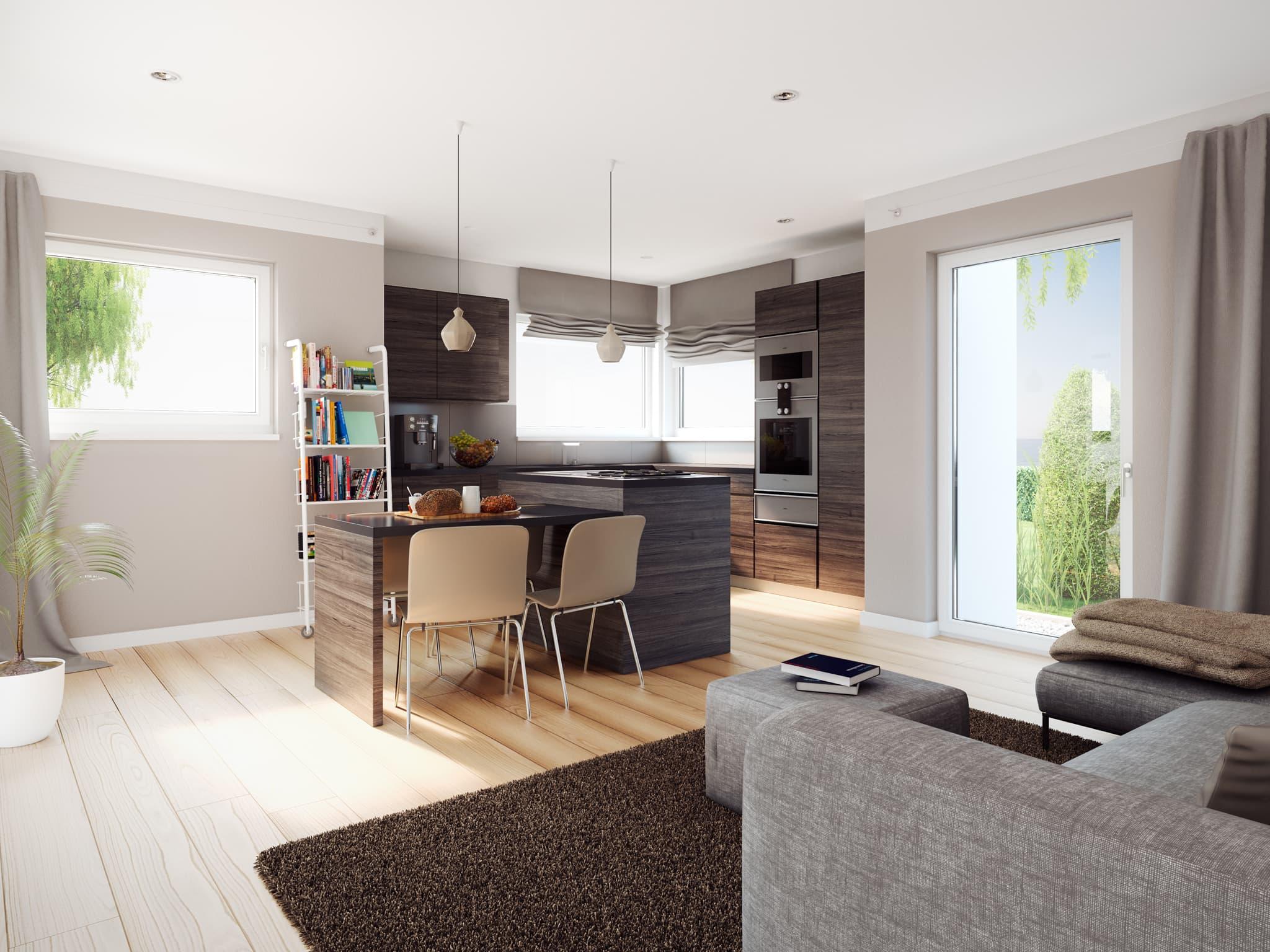 Offenes Wohn-Esszimmer mit Küche - Ideen Inneneinrichtung Einliegerwohnung Living Haus SOLUTION 183 V5 - HausbauDirekt.de