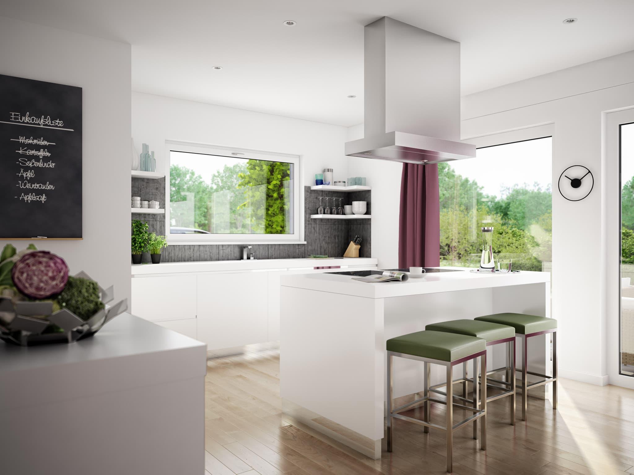Offene Küche modern mit Kochinsel & Theke - Inneneinrichtung Fertighaus Stadtvilla Ideen Einfamilienhaus EVOLUTION 122 V10 von Bien Zenker - HausbauDirekt.de
