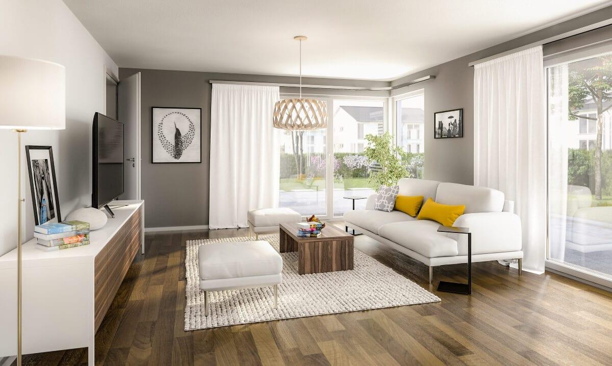 Wohnzimmer modern einrichten in grau/ weiß & Holz - Ideen Inneneinrichtung Doppelhaus AURA 136 von Town Country Haus - HausbauDirekt.de
