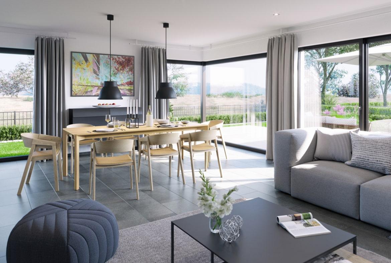 Wohnzimmer Ideen - Doppelhaus innen Fertighaus Bien Zenker CELEBRATION 139 V3 - HausbauDirekt.de