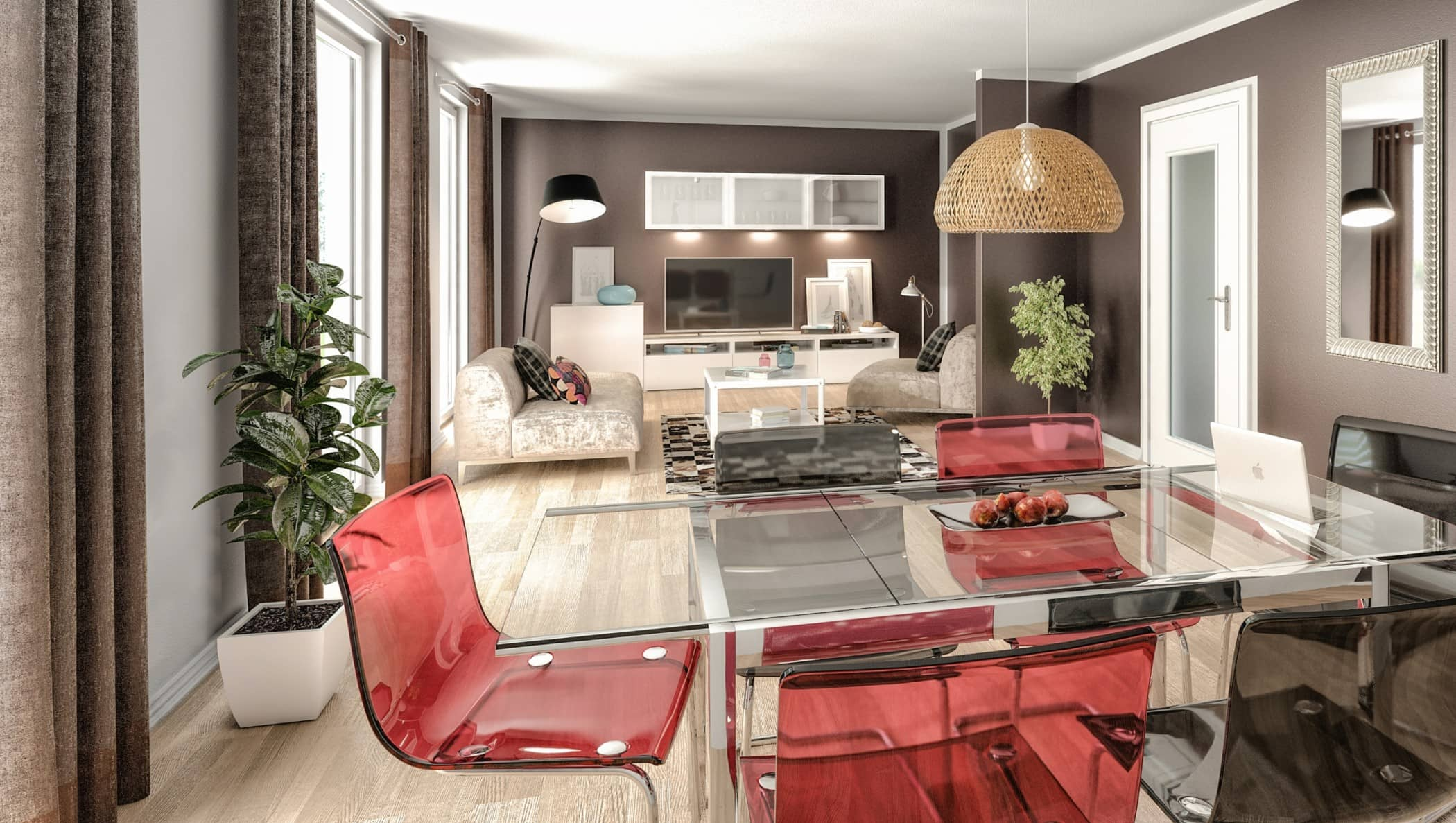 Wohnzimmer mit Essbereich - Ideen Einrichtung Town Country Haus Flair 125 Elegance - HausbauDirekt.de