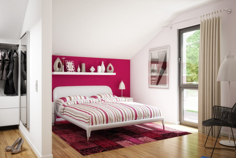Schlafzimmer modern mit Dachschräge - Ideen Inneneinrichtung Haus Bien Zenker Fertighaus EVOLUTION 139 V6 - HausbauDirekt.de