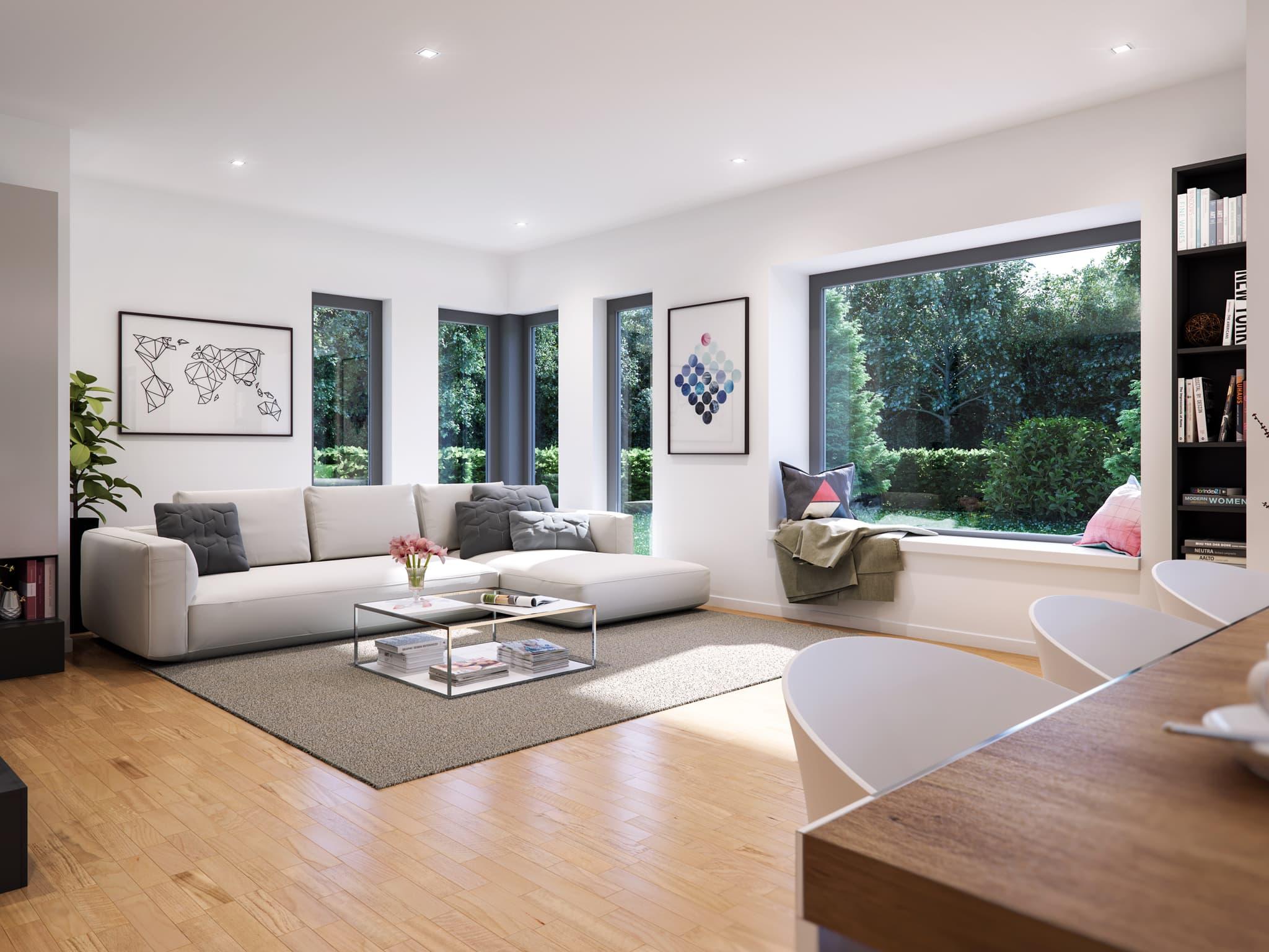 Wohnzimmer Ideen - Haus Inneneinrichtung modern Bien Zenker Fertighaus FANTASTIC 162 V2 - HausbauDirekt.de