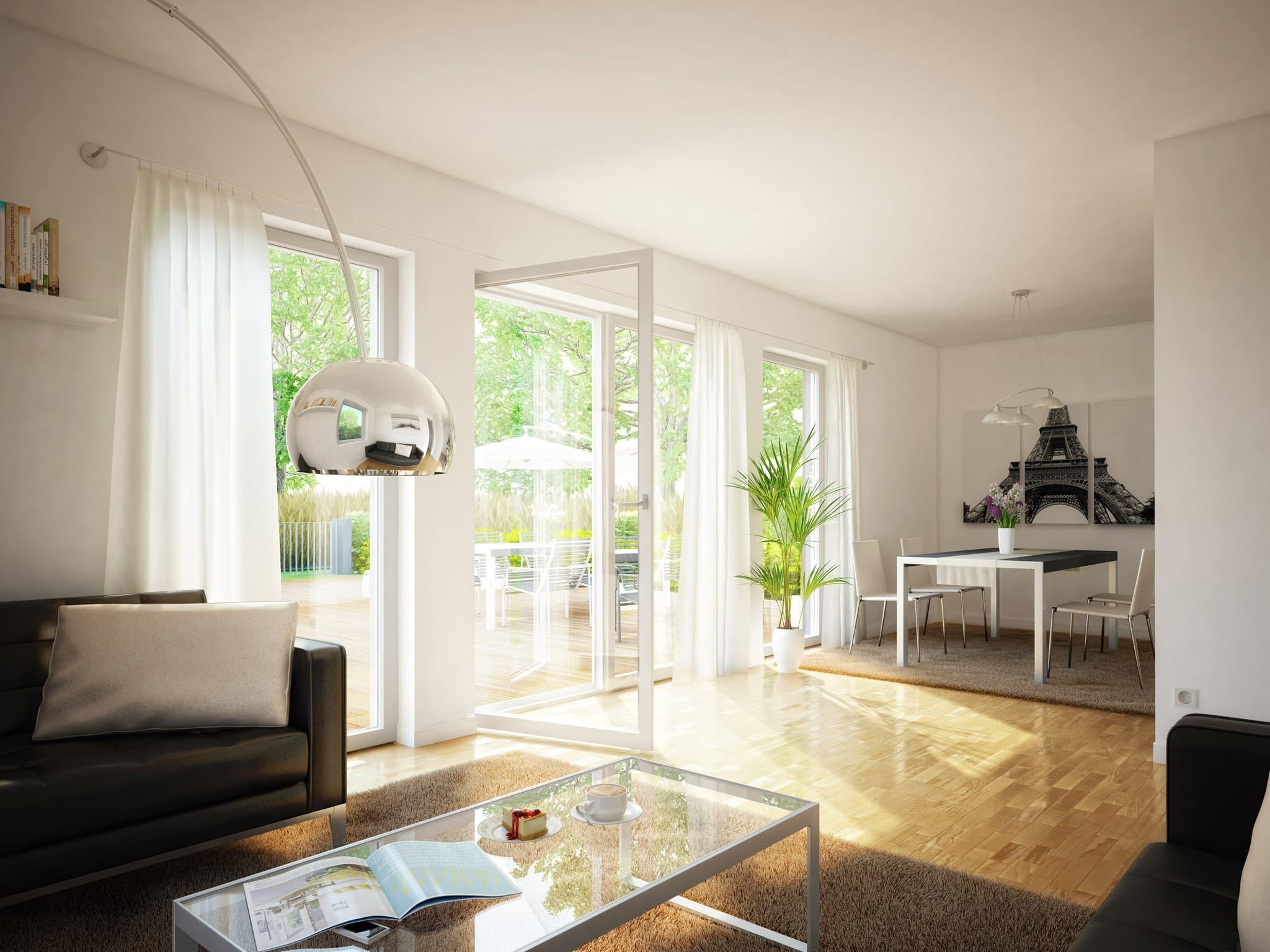 Modernes Wohnzimmer mit Essbereich - Wohnideen Inneneinrichtung Einfamilienhaus EVOLUTION 124 V3 von Bien Zenker - HausbauDirekt.de