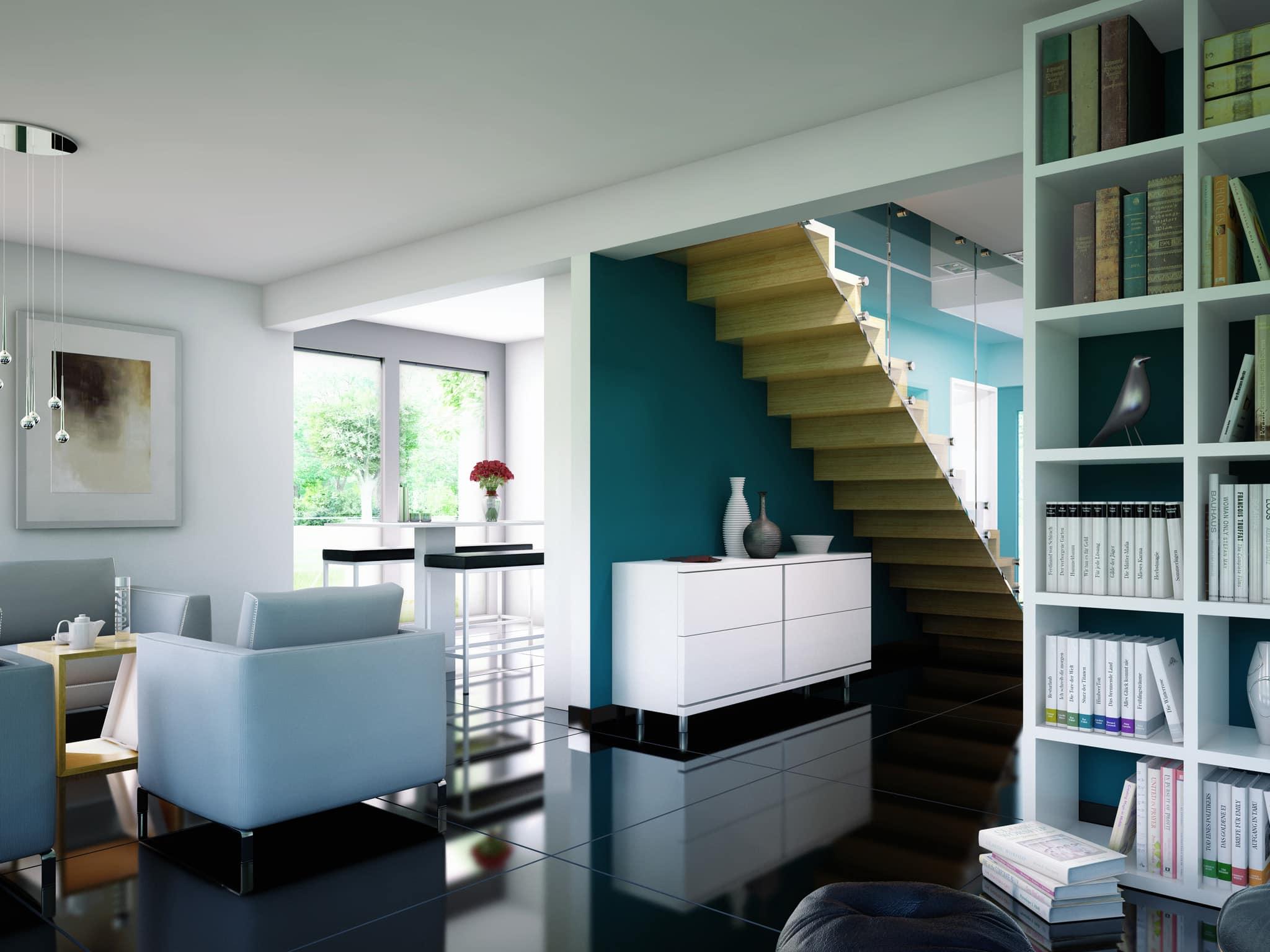 Modernes Wohnzimmer offen mit gerader Treppe - Wohnideen Inneneinrichtung Haus Bien Zenker Einfamilienhaus EVOLUTION 134 V6 - HausbauDirekt.de