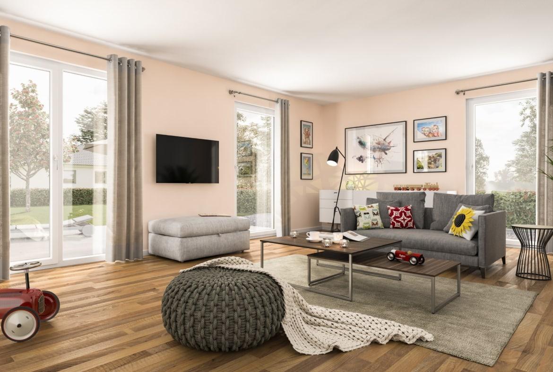 Wohnzimmer Ideen - Haus Design innen Town Country Haus Bungalow 131 - HausbauDirekt.de
