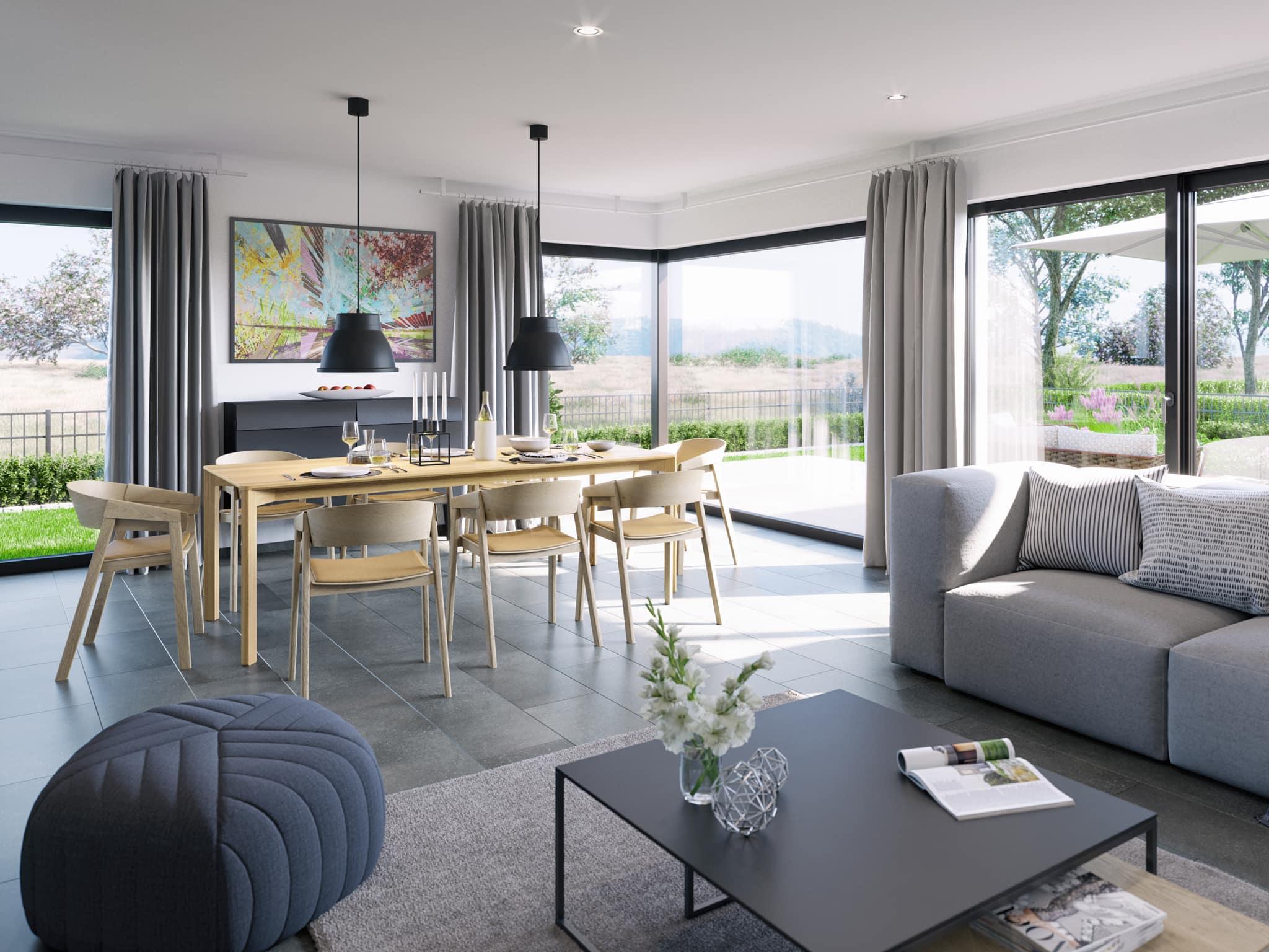 Wohnzimmer Ideen - Doppelhaus innen Fertighaus Bien Zenker CELEBRATION 139 V5 - HausbauDirekt.de