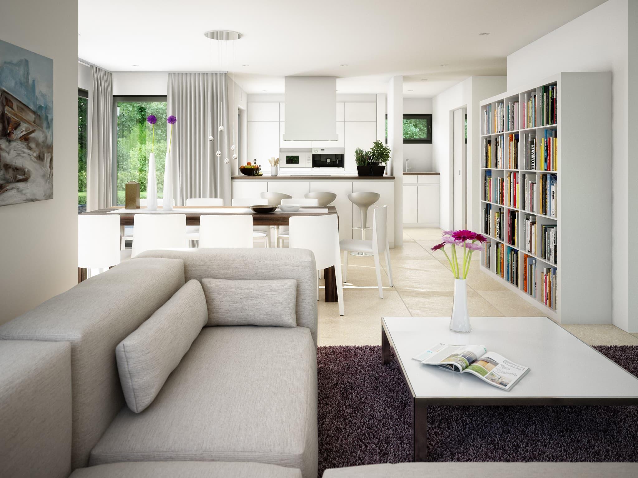 Wohnzimmer Ideen - Inneneinrichtung Einfamilienhaus Bien-Zenker Fertighaus CONCEPT-M Muenchen - HausbauDirekt.de