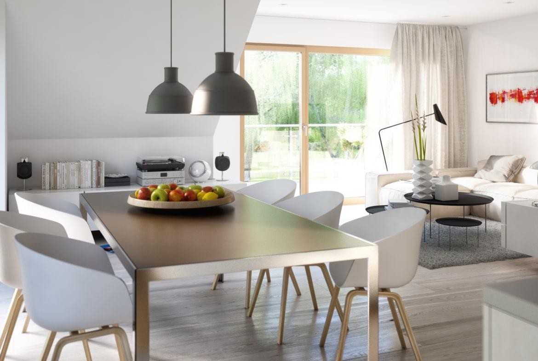 Offenes Wohn- Esszimmer Ideen - Inneneinrichtung Fertighaus SOLUTION 204 V4 von Living Haus - HausbauDirekt.de