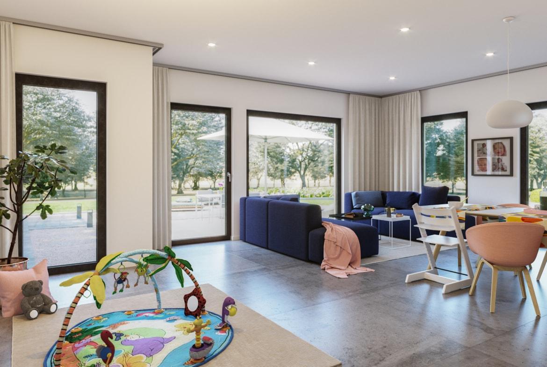 Offenes Wohnzimmer & Esszimmer - Ideen Inneneinrichtung Fertighaus SOLUTION 242 V5 von Living Haus - HausbauDirekt.de