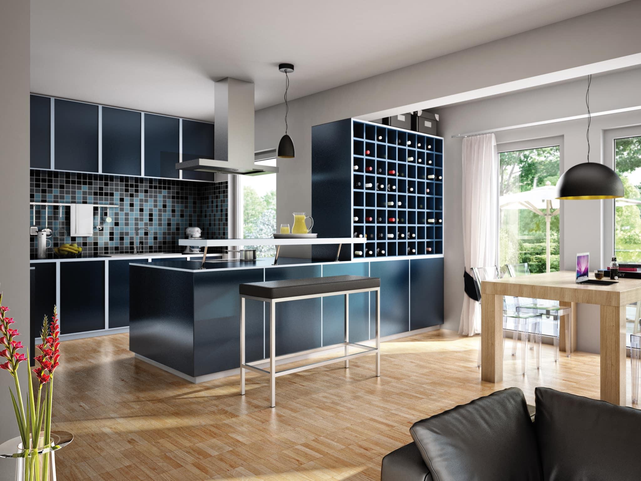 Küchen Ideen modern, offen im Wohn- Esszimmer - Inneneinrichtung Fertighaus SUNSHINE 113 V5 von Living Haus - HausbauDirekt.de