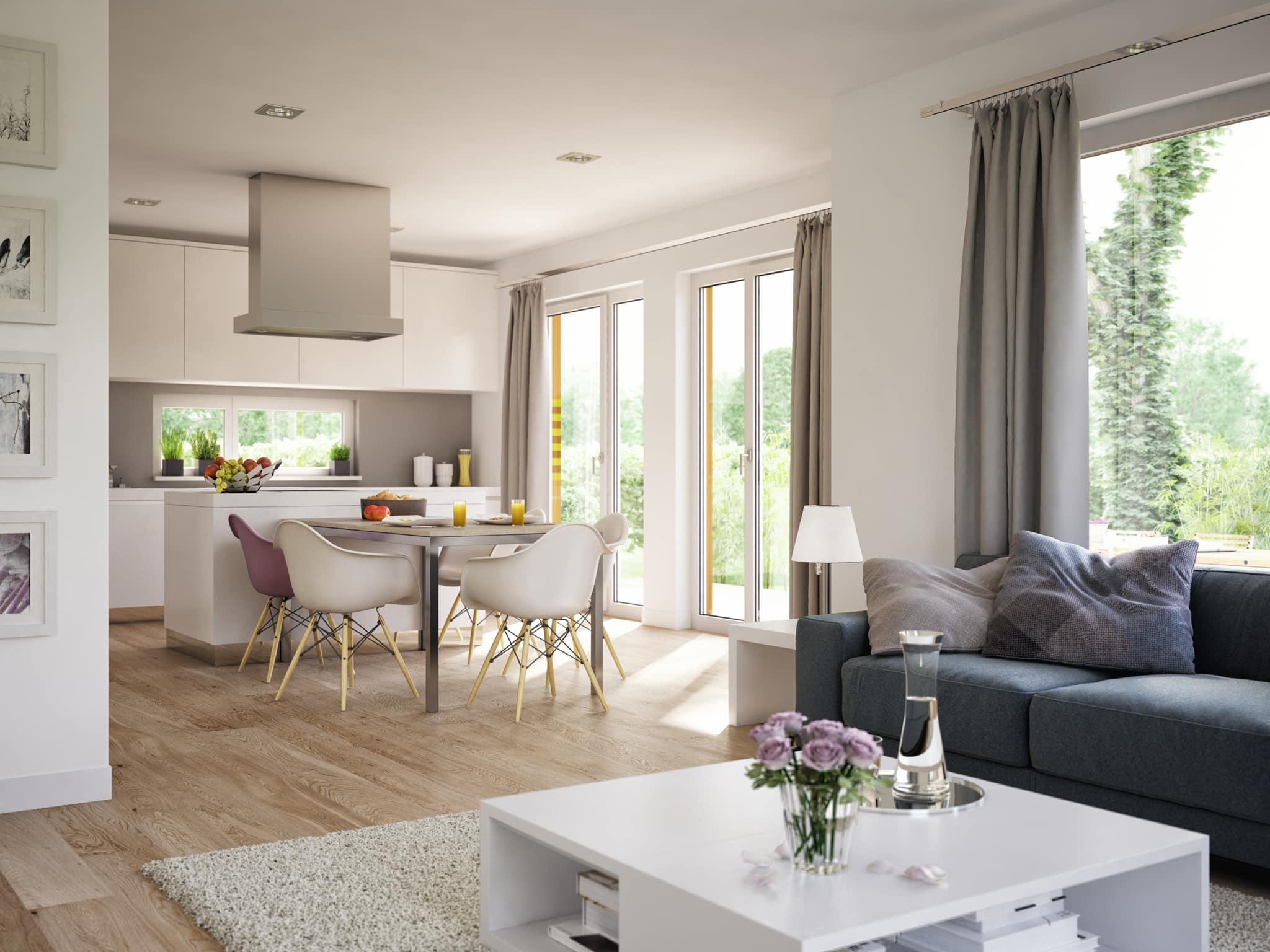 Wohnzimmer Ideen mit offener Küche & Essbereich - Inneneinrichtung Wohnideen Fertighaus Stadtvilla SUNSHINE 113 V8 von Living Haus - HausbauDirekt.de