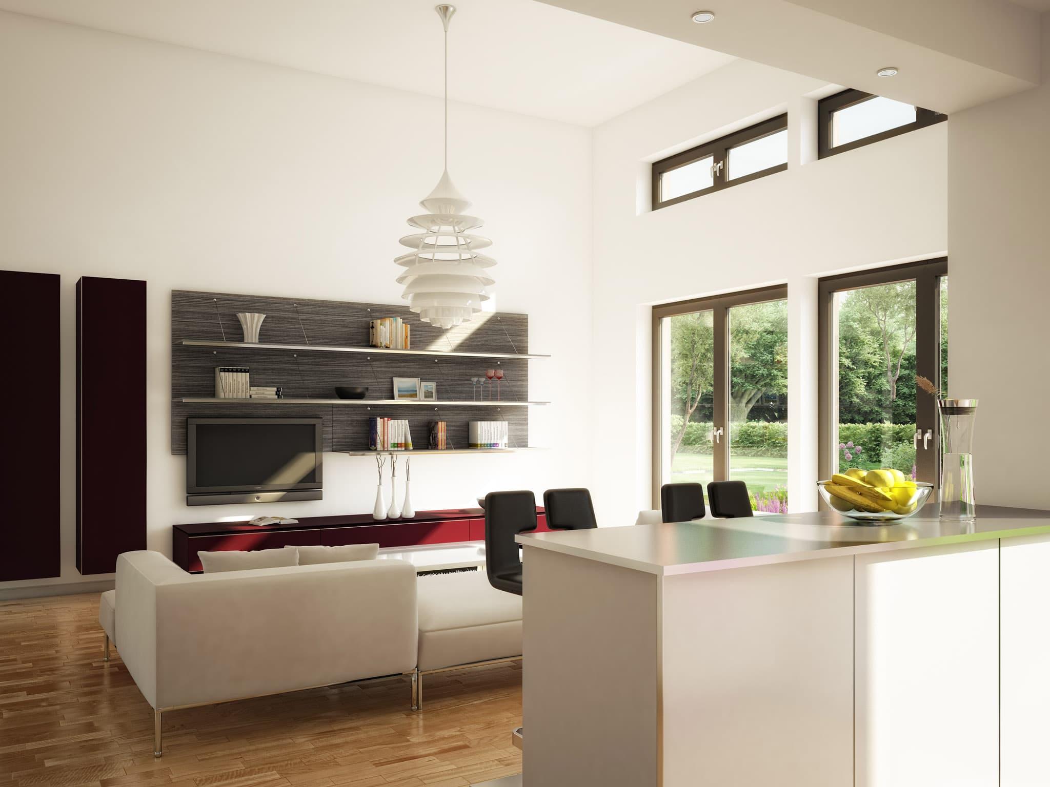 Offenes Wohnzimmer hoher Raum modern mit Küche - Ideen Inneneinrichtung Fertighaus Bungalow AMBIENCE 111 V4 von Bien Zenker - HausbauDirekt.de