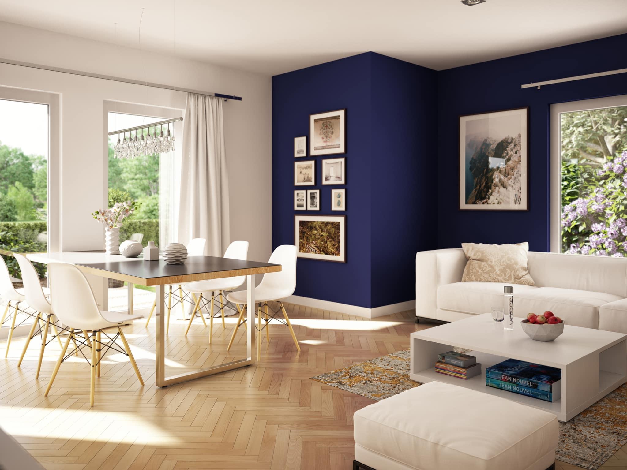 Wohnzimmer Ideen - Inneneinrichtung Stadtvilla Fertighaus Living Haus SUNSHINE 136 V7 - HausbauDirekt.de