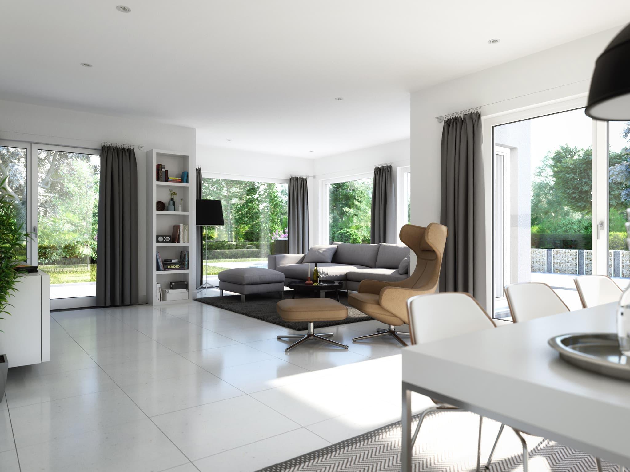 Offenes Wohn- Esszimmer mit Panorama Erker - Ideen Inneneinrichtung Fertighaus SUNSHINE 165 V4 von Living Haus - HausbauDirekt.de