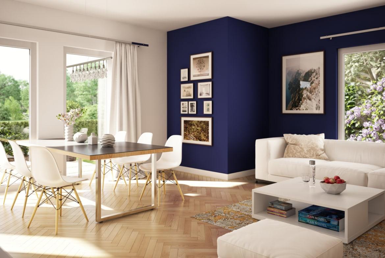 Offenes Wohnzimmer mit Esszimmer - Interior Design Fertighaus Living Haus SUNSHINE 136 V5 - HausbauDirekt.de