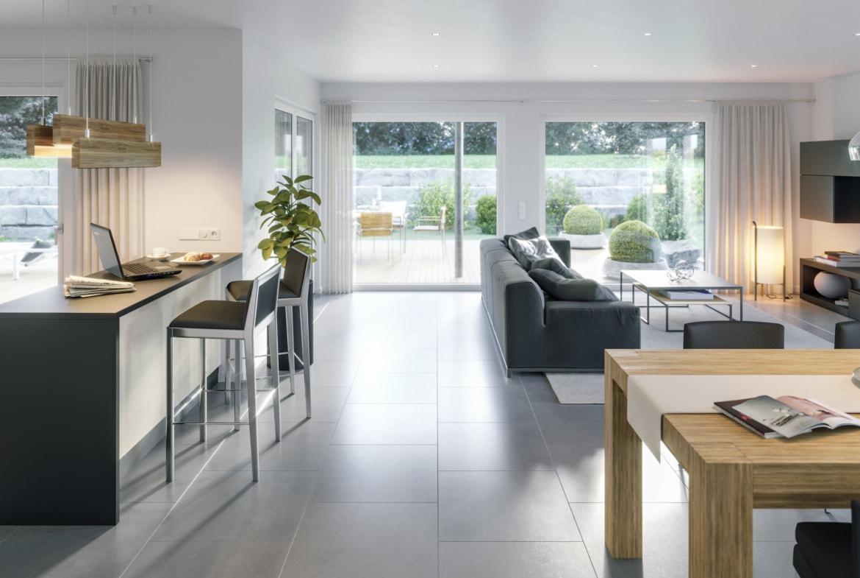 Wohnzimmer & Küche Inneneinrichtung Ideen Bungalow AMBIENCE 88 V4 Bien Zenker Haus - HausbauDirekt.de