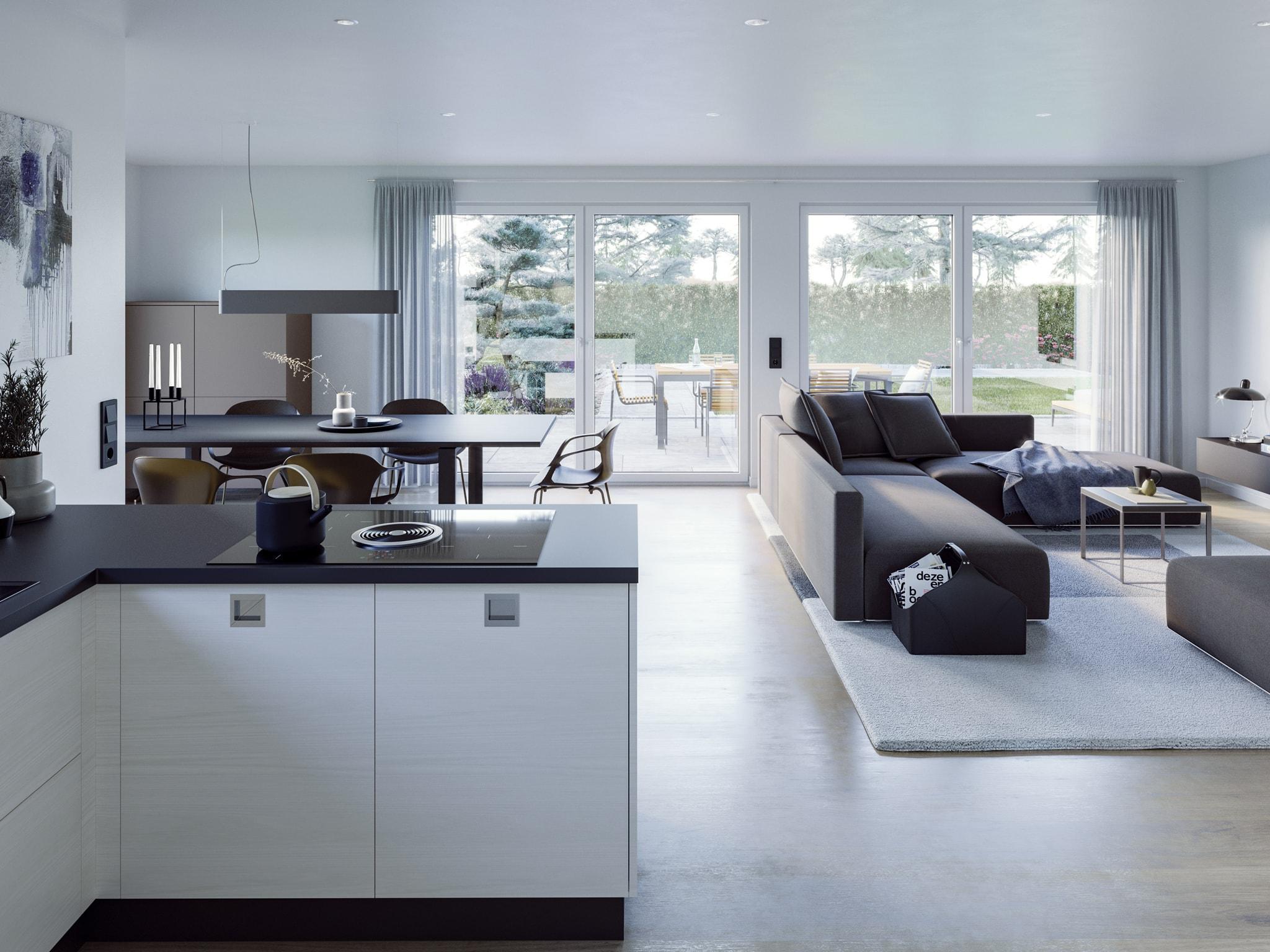 Wohnzimmer Kueche Esstisch Inneneinrichtung Ideen Bunbalow AMBIENCE 77 V3 Bien Zenker Haus - HausbauDirekt.de