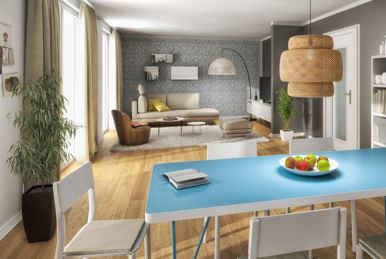 Modernes Wohnzimmer mit Essbereich - Inneneinrichtung Town Country Haus Flair 125 - HausbauDirekt.de