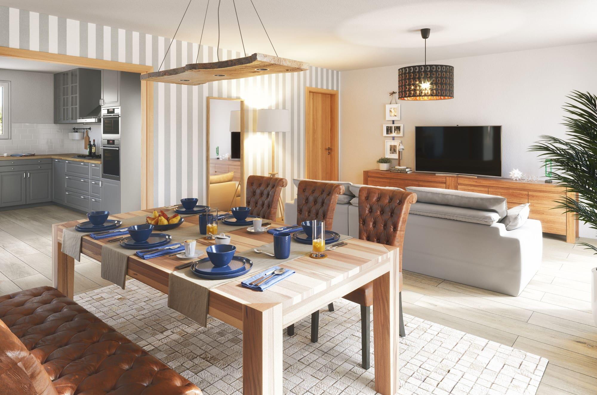 Wohn- Esszimmer mit großem Holztisch & offener Küche - Haus Design Ideen innen Bungalow 110 von Town Country Haus - HausbauDirekt.de