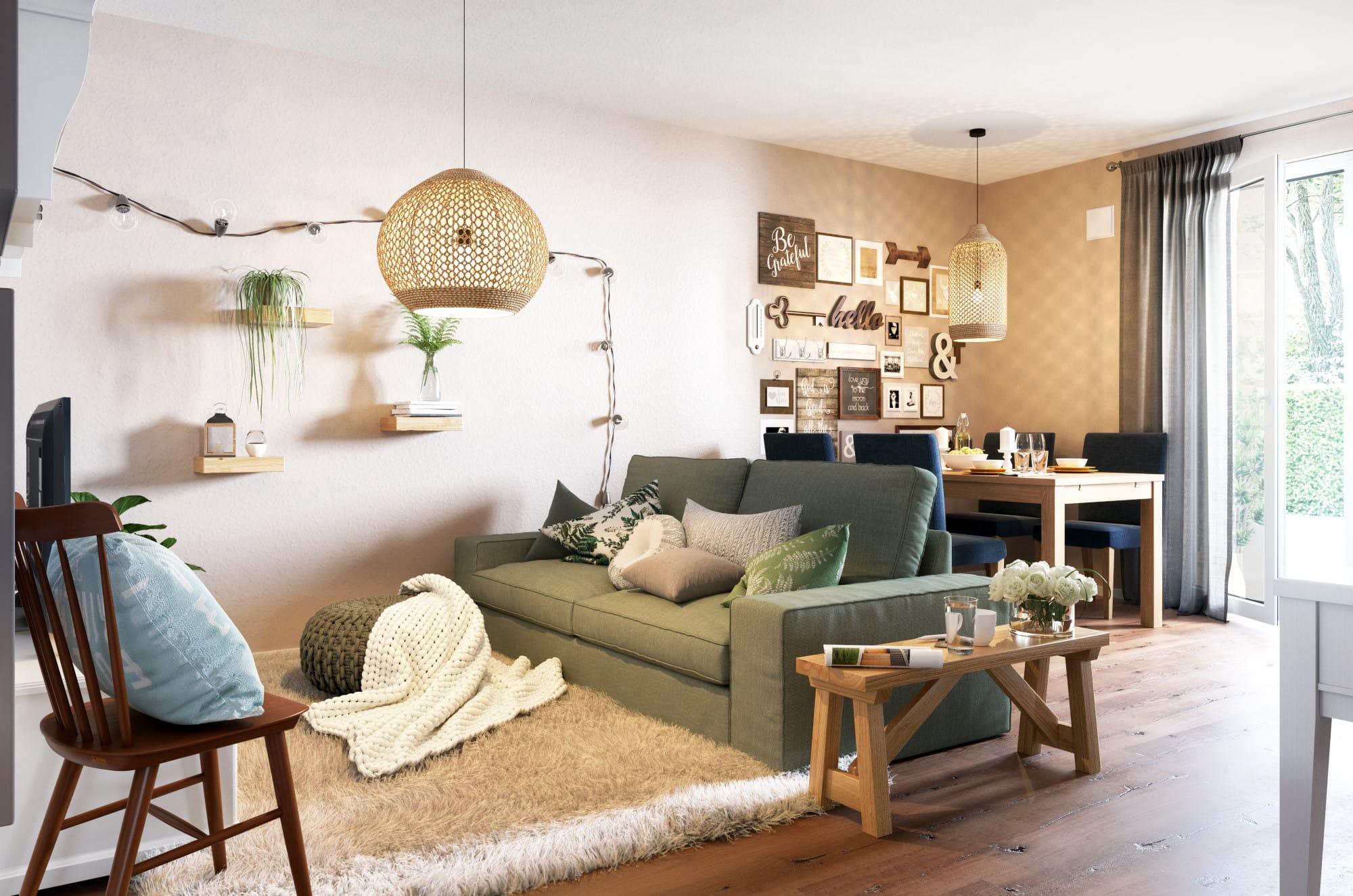 Wohnzimmer im modernen Landhausstil - Haus Design Ideen Inneneinrichtung Town Country Haus Bungalow 78 - HausbauDirekt.de