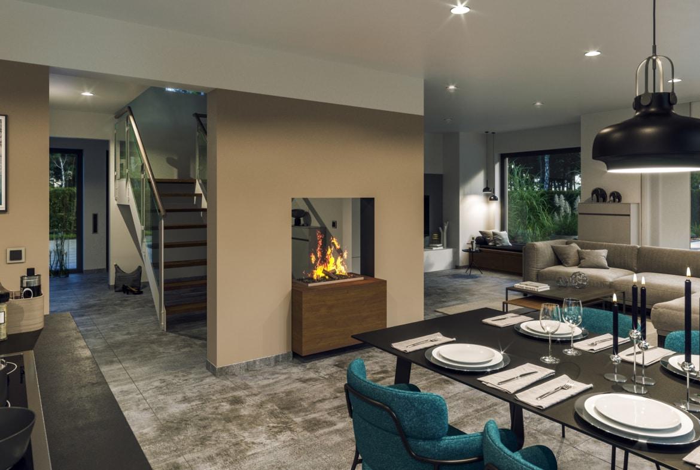 Offenes Wohnzimmer mit Kamin & Essbereich - Ideen Haus Design innen Bien-Zenker Fertighaus CONCEPT-M 163 Dresden - HausbauDirekt.de