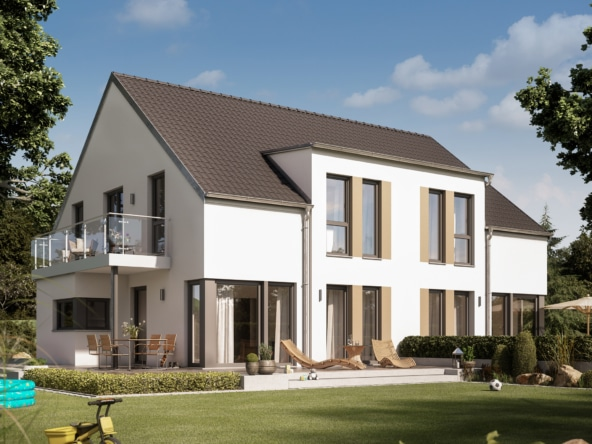 Modernes Zweifamilienhaus Grundriss nebeneinander als Doppelhaus, zwei Eingänge & Satteldach - Haus bauen Ideen Fertighaus SOLUTION 242 V2 von Living Haus - HausbauDirekt.de