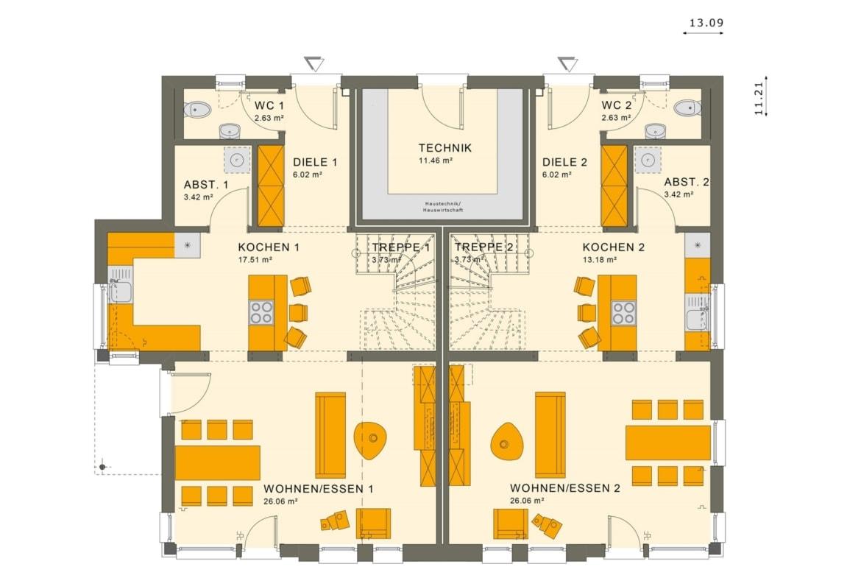 Zweifamilienhaus Grundriss nebeneinander Erdgeschoss mit zwei separaten Eingängen - Doppelhaus bauen Ideen Fertighaus SOLUTION 242 V2 von Living Haus - HausbauDirekt.de