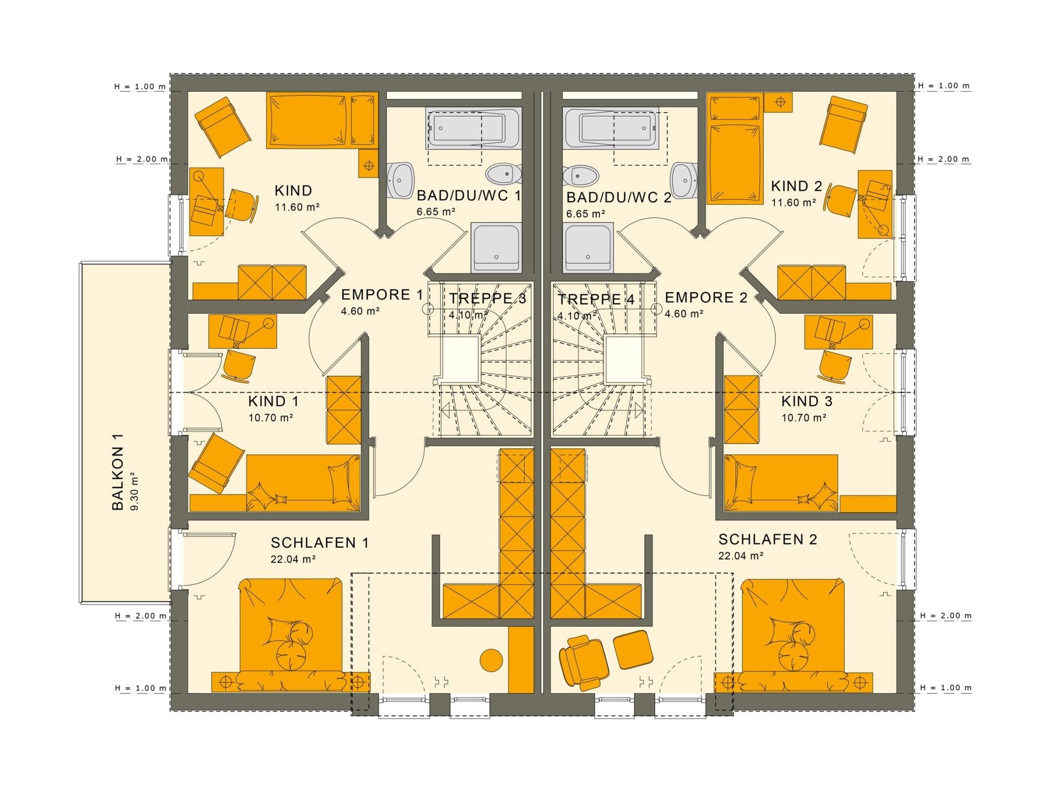 Zweifamilienhaus Grundriss nebeneinander Dachgeschoss mit Satteldach Architektur - Doppelhaushälfte bauen Ideen Fertighaus SOLUTION 242 V2 von Living Haus - HausbauDirekt.de