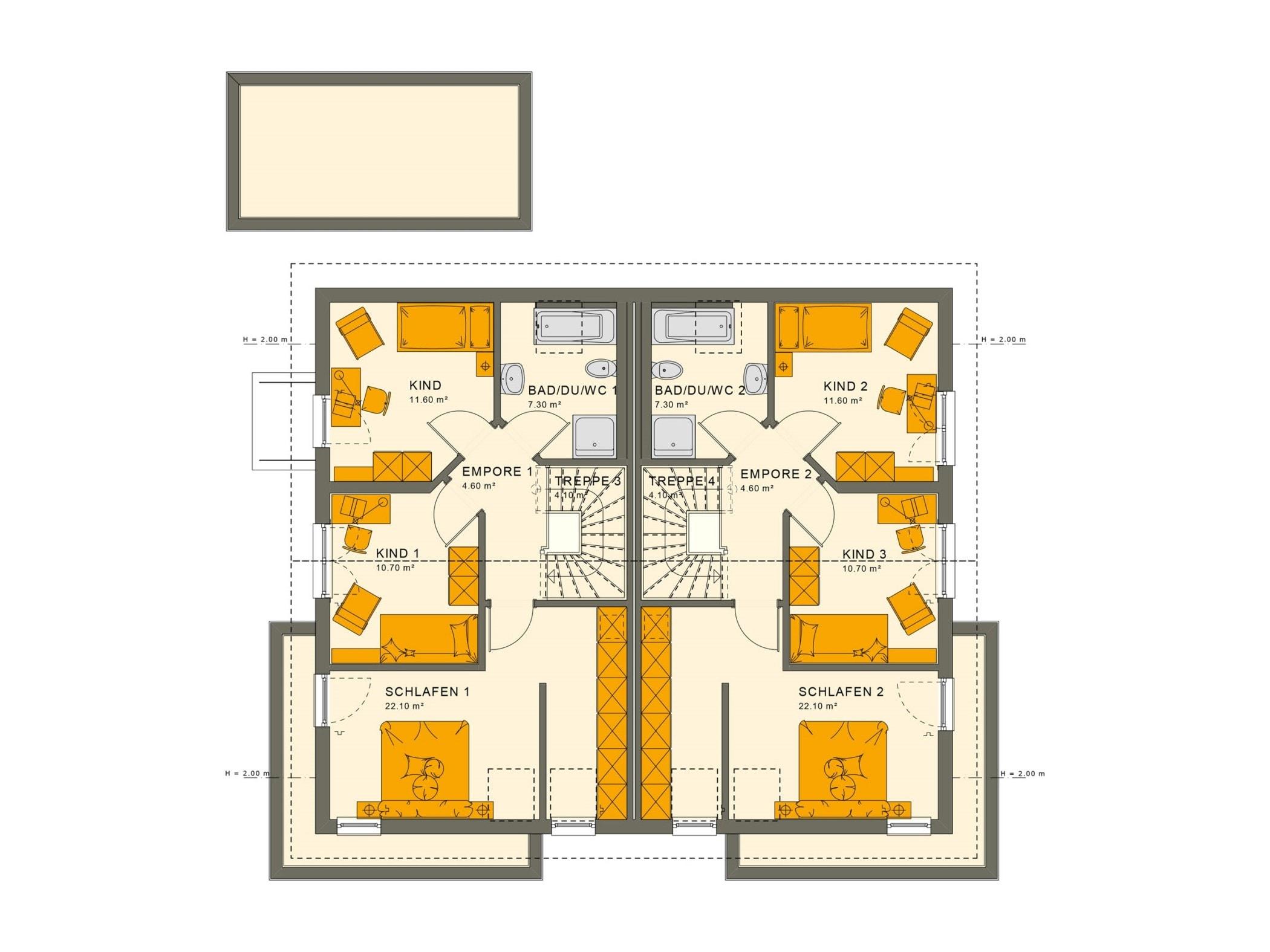 Zweifamilienhaus Grundriss Obergeschoss nebeneinander als Doppelhaus mit Satteldach Architektur - Mehrgenerationenhaus bauen Ideen Fertighaus SOLUTION 242 V5 von Living Haus - HausbauDirekt.de