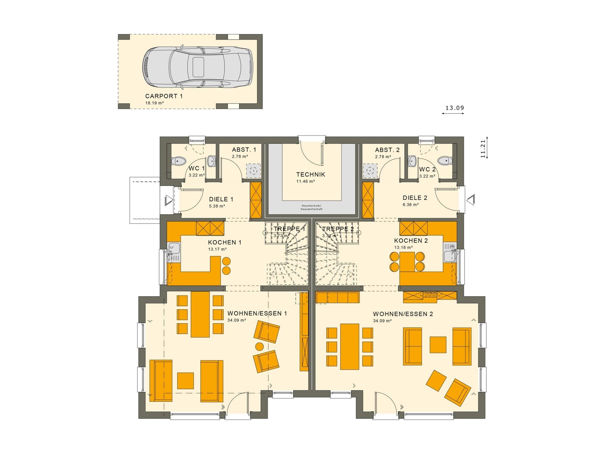 Zweifamilienhaus Grundriss Erdgeschoss nebeneinander als Doppelhaus mit separaten Eingängen & Carport - Mehrgenerationenhaus bauen Ideen Fertighaus SOLUTION 242 V5 von Living Haus - HausbauDirekt.de