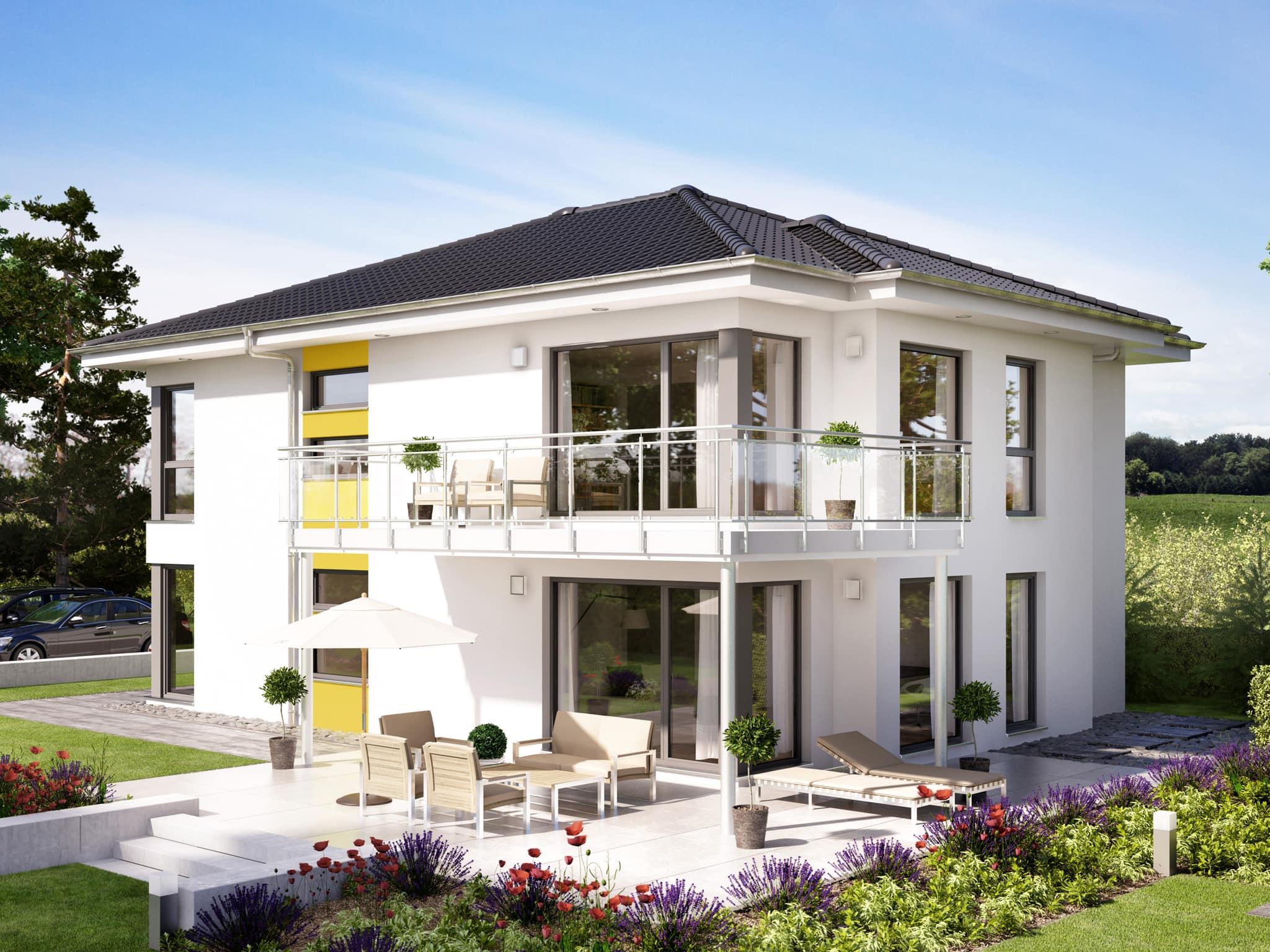 Zweifamilienhaus Stadtvilla mit Walmdach Architektur & 2 übereinander liegenden Wohnungen - Mehrgenerationenhaus bauen Ideen Fertighaus SOLUTION 204 V6 von Living Haus - HausbauDirekt.de