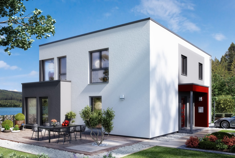 Zweifamilienhaus Stadtvilla modern mit Flachdach Architektur, 2 Wohnungen übereinander - Mehrgenerationenhaus bauen Ideen Fertighaus SOLUTION 204 V9 von Living Haus - HausbauDirekt.de