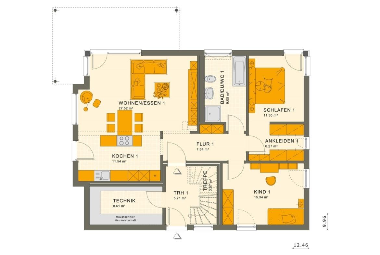 Zweifamilienhaus Stadtvilla Grundriss Erdgeschoss, Wohnungen übereinander - Mehrgenerationenhaus bauen Ideen Fertighaus SOLUTION 204 V6 von Living Haus - HausbauDirekt.de